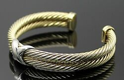 Authentic David Yurman 14k Yellow White Gold Cable X Crossover Cuff Bracelet