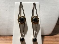 Sterling Silver And 18kt Yellow Gold W/oynx 3andrdquo Stud Earrings