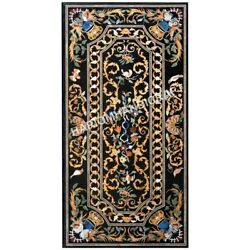6'x3' Black Marble Dining Table Top Pietra Dura Inlay Restraurant Decors E589(1)