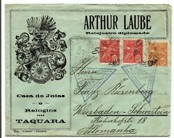 Brazil - 1927 Early Cover Carried By Varig With Provisional Triangle Rubber Sta