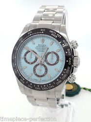 Rolex Daytona Platinum Ice Blue Dial Brown Ceramic Bezel 116506