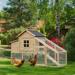PawHut 69quot; Chicken Coop Includes Connecting Ramp and an Easy Clean Tray White