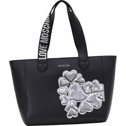 Love Moschino Women's Black Embroidered Hearts Cluster Tote Handbag