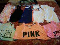 10 VICTORIA'S SECRET PINK MIXED SHIRT LOT MED LARGE + NWT SEQUIN