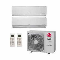 Lg Wall Mounted 2-zone System - 30,000 Btu Outdoor - 12k + 15k Indoor - 19.2 ...