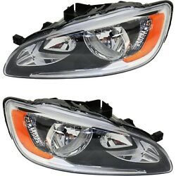 Halogen Headlight Set For 2014-2017 Volvo S60 Left And Right Pair