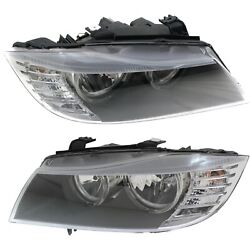 Halogen Headlight Set For 2009-2012 BMW 328i Left & Right w/ Bulb(s) Pair CAPA