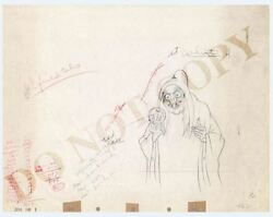 Snow White and the Seven Dwarfs Witch Hag Original Production Drawing PAINT CODE