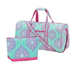 Monogrammed Personalized Marlee Duffel Travel Bag with matching Cosmetic Case