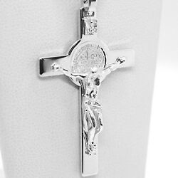 18k White Gold Cross, Jesus And Saint Benedict Medal, Big 2.1 Inches, Italy Made