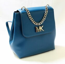 Michael Kors Mott Chain Backpack MD Leather Luxe Teal