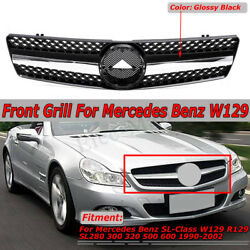 For Mercedes Benz W129 R129 SL500 SL600 SL Class 90-02 Front Grille Grill Black