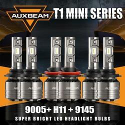 AUXBEAM 9005+H11 CREE LED HiLo Canbus Headlight + 9145 H10 Fog Light Bulbs 6PCS