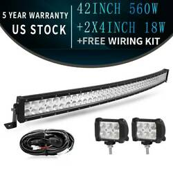 42inch 560w Curved Led Work Light Bar Flood Spot Combo With Wiring Harness Kit