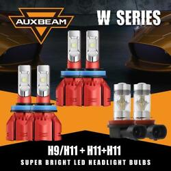 Auxbeam H11 H9 H8 3Sets LED Headlight Canbus +Fog Bulbs for 07-18 Nissan Altima