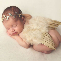 Newborn Boys Baby Girl Angel Wings Leaf Costume Photo Photography Prop Outfits