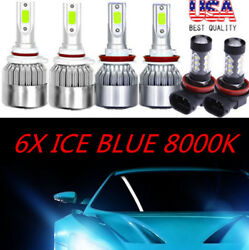 6X 8000K COB LED Headlight+Fog Light Kit For Honda CR-Z 2011-2016  ICE Blue Bulb