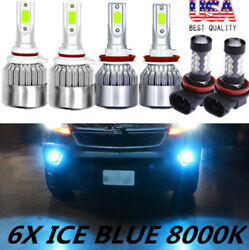 6X 8000K COB LED Headlight+Fog Light For Honda Odyssey 2011-2018 ICE Blue Bulbs