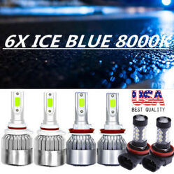 6X 8000K COB LED Headlight+Fog Light Kit For Honda Ridgeline 17-19 ICE Blue Bulb