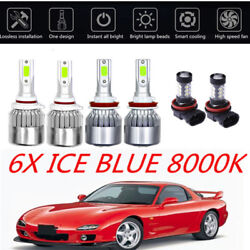 6X 8000K COB LED Headlight+Fog Light Kit For Mazda 3 2010-2018  ICE Blue Bulbs