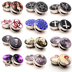 Pair Of Screw On Picture Plugs Gauges Choose Style And Size 16g Thru 1 Inch