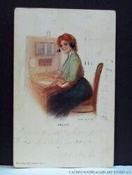 Telephone Operator Greeting Postcard Switchboard Working Girl Hello Vtg 1906