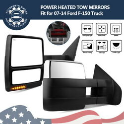 Pair Tow Mirrors for 07-14 Ford F150 F-150 Power Heated Puddle Signal Chrome Cap
