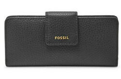 NWT Fossil Madison Slim Clutch Black Leather Wallet SWL1574001 723764500752 $34.99