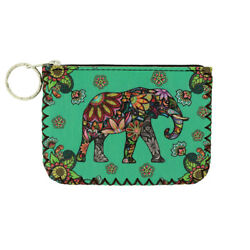 Coin Purse Colorful Elephant and Floral Design Make Up Bag ID Holder