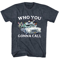 The Real Ghost Busters Riding In Ecto 1 Who You Gonna Call Adult T Shirt