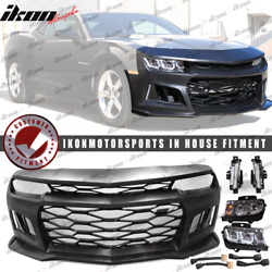 Fits 10-13 Camaro ZL1 Style Front Bumper Cover  + Chrome Headlights  + Foglights