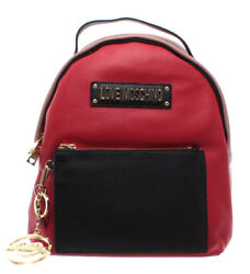 LOVE MOSCHINO Women's Bag Backpack Genuine Leather Multicolor Logo Gold New