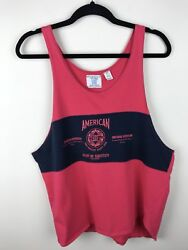 I.O.U Men's Vintage 1990s IOU Accept No Substitute Tank Top Blue Red Size Big