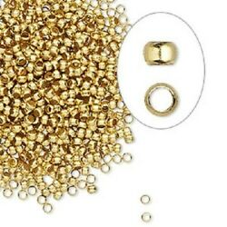 100 Bright Gold Brass Tiny 2mm Squeeze Crimps Crimp Beads Findings
