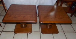 Pair Of Ethan Allen Maple Mid Century Formica Top End Tables / Side Tables T783