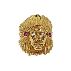 Solid 14k Yellow Gold Native American Chief With Diamond Eyes Ring Size 9.75