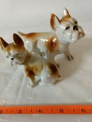 2 VTG FRENCH BULLDOGS Dog Porcelain Figures JAPAN Terriers Frenchie Mom Baby