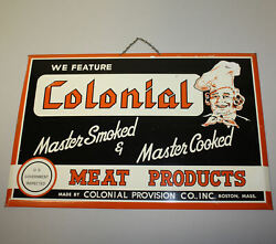Antique Colonial Meat Products Tin Over Cardboard Advertising Sign