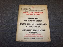 1966 Lincoln Continental Heater & Air Conditioner AC Shop Service Repair Manual