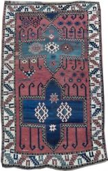 Kazak Wool Hand-knotted 5and039 X 8and039 Eagle Kazakh Antique Red Azerbaijan Rug