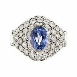 Vintage 2.18ct Gia Natural No Heat Periwinkle Blue Sapphire 18k White Gold Ring