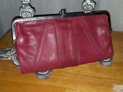 HOBO INTERNATIONAL Original LAUREN Red Plum Stitched Wallet Double Frame Clutch