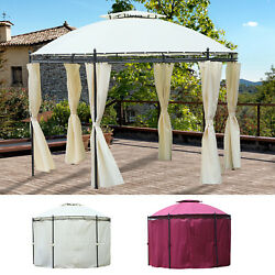 Outsunny 11.5' Steel Round Soft Top Patio Dome Gazebo Shelter Privacy Curtains