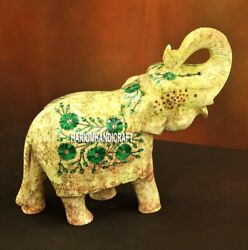 8'' Outside Door Elephant Statue Handcarved Inlaid Natural Malachite Decor H3773