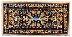 2.5'x5' Black Marble Dining Table Top Pietra Dura Inlaid Home Decoratives H3016