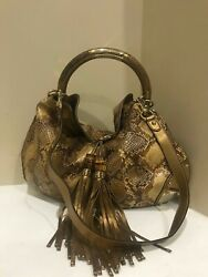 RARE $6000 GUCCI BROWN PYTHON SNAKE INDY HOBO BAG W BAMBOO & TASSELS  AUTHENTIC