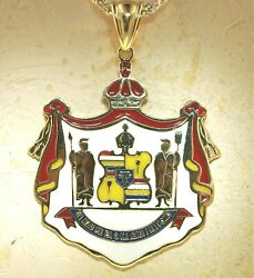 49mm Heavy 14k Yellow Gold Kingdom Of Hawaii Coat Of Arms Colored Enamel Pendant