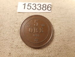 1892 Sweden 5 Ore - Very Nice Collectible Unslabbed Raw Album Coin - 152386