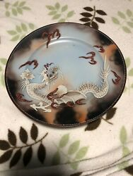 Set Of 4 Antique Japanese Satsuma Plates Hand Painted With Dragons