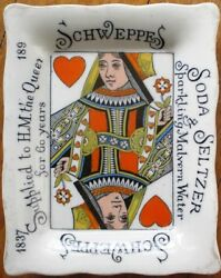 Schweppes Soda And Seltzer 1897 Tip Tray W/playing Card/queen Of Hearts- Porcelain